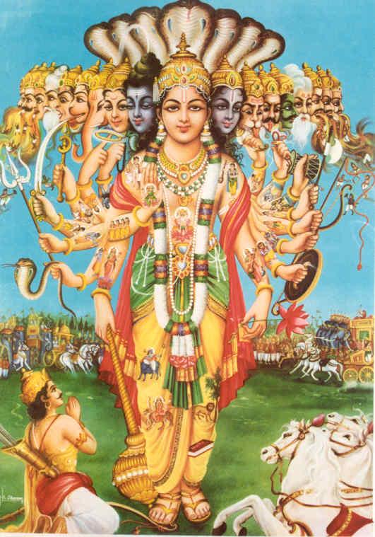 Krishna revealing his infinite power to Arjuna in the Bhagavad Gita