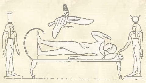 Egyptology.com: From the Opet Temple. Osiris on his lion couch with Amen-Re as Ba bird alighting upon him