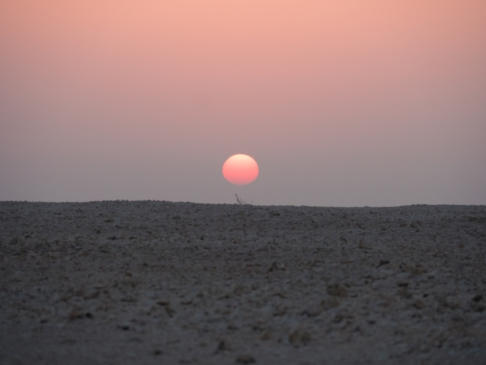 Photo credit: mine, sunrise, desert sunrise, unflitered, near Shahania, Qatar